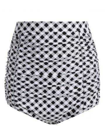 Affordable Plaid Vintage Cheeky High Waisted Bikini Shorts
