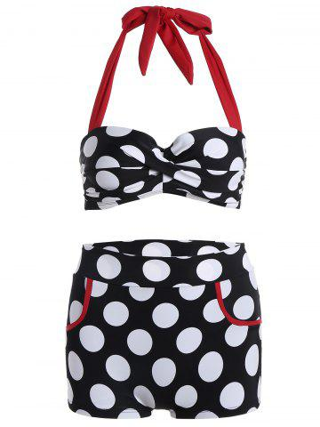 Halter Polka Dot Push Up Bikini - WHITE/BLACK XL