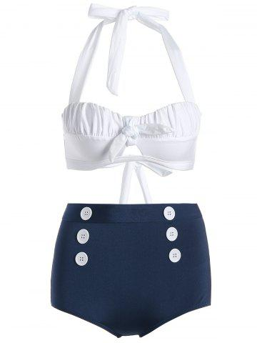 New Vintage Halter Buttoned High Waisted Bikini BLUE AND WHITE XL