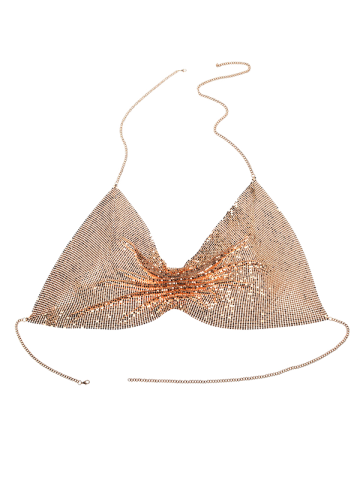 Discount Sequins Beach Bra Body Jewelry Chain - GOLDEN  Mobile