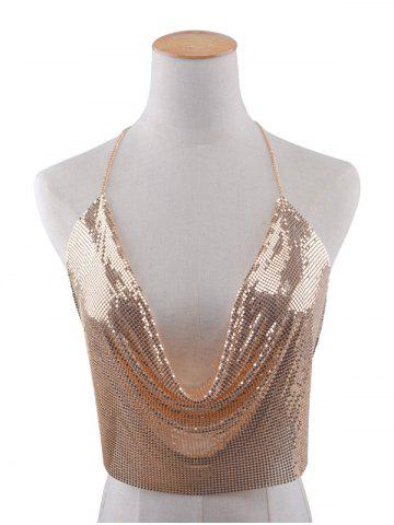 Affordable Sequins Beach Bra Body Jewelry Chain - GOLDEN  Mobile