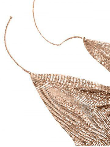 Unique Sequins Beach Bra Body Jewelry Chain - GOLDEN  Mobile