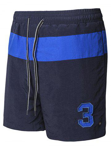 Embroidered Color Block Running Sports Shorts - Cadetblue - M