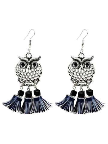 Artificial Leather Tassels Owl Earrings - Blue - 38