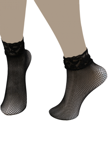 Lace Trim Embellished Fish Net Over Short Ankle Socks - Black - M