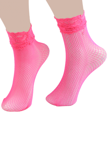 Online Lace Trim Embellished Fish Net Over Short Ankle Socks - TUTTI FRUTTI  Mobile