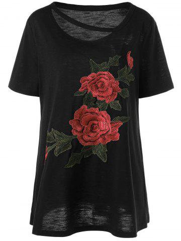 Sale Embroidered Floral Plus Size Casual Long T-Shirt EBONY XL