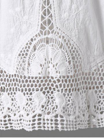 Fancy Crochet Lace Hollow Out Tank Top - ONE SIZE WHITE Mobile