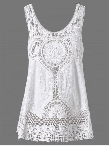 Best Crochet Lace Hollow Out Tank Top WHITE ONE SIZE