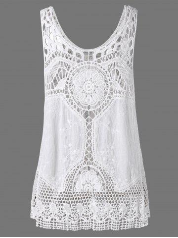 Shops Crochet Lace Hollow Out Tank Top - ONE SIZE WHITE Mobile