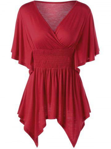 Outfits Smocked Butterfly Sleeve Asymmetric Top RED M
