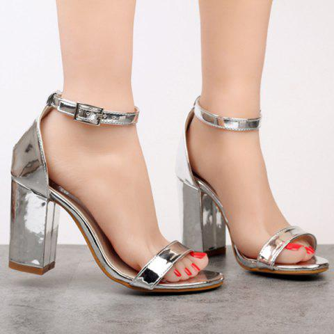 Store Metallic Colour Ankle Strap Sandals SILVER 40