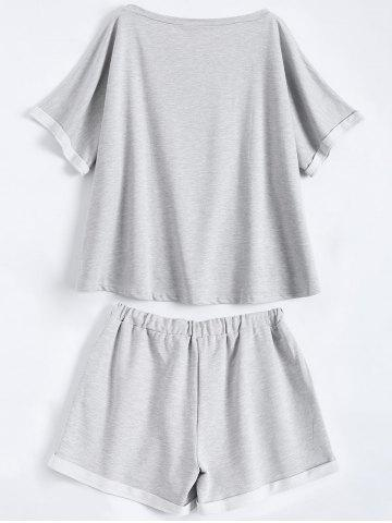 Outfit Plus Size Graphic T-Shirt and Sweatshorts - 2XL GRAY Mobile