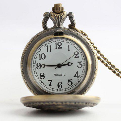 Unique Crown Carving Vintage Quartz Pocket Watch - COPPER COLOR  Mobile