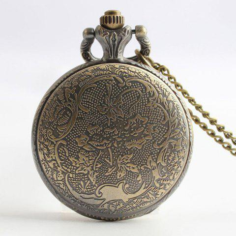 Fashion Crown Carving Vintage Quartz Pocket Watch - COPPER COLOR  Mobile