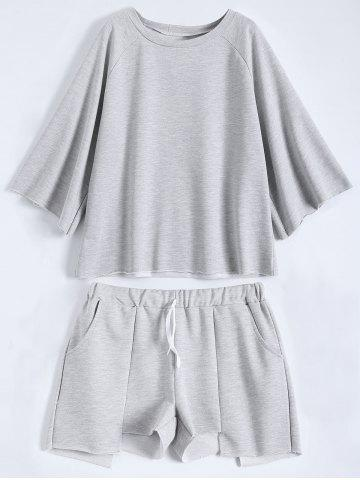 Store Active Plus Size Top With Asymmetric Shorts Set - 3XL GRAY Mobile