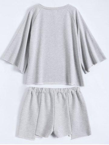 Buy Active Plus Size Top With Asymmetric Shorts Set - 3XL GRAY Mobile