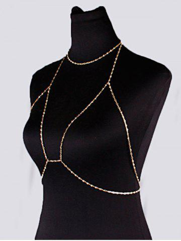 Online Geometric Beach Body Jewelry Bra Chain with Necklace - GOLDEN  Mobile