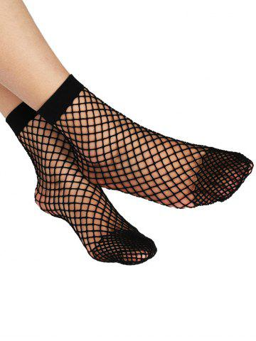 Affordable Fish Net Plain Ankle Socks BLACK