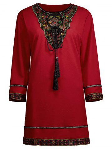 Beaded Embroidered Plus Size Top - Red - 3xl