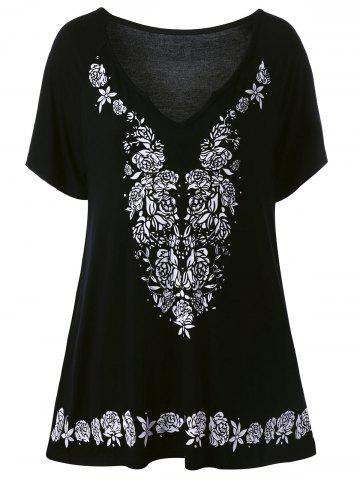 Outfits Plus Size Rose Tunic Flowing Top BLACK 5XL