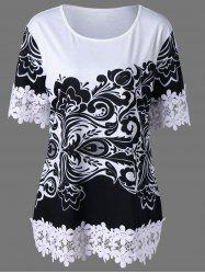 Plus Size Crochet Trim Floral T-Shirt - WHITE AND BLACK