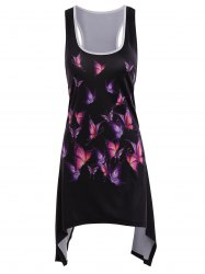 Butterfly Asymmetrical Racerback Summer Tank Dress - BLACK