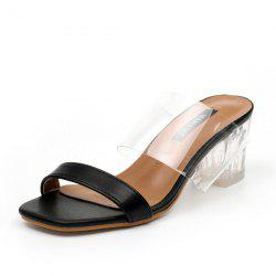 Faux Leather Clear Heel Slippers - BLACK