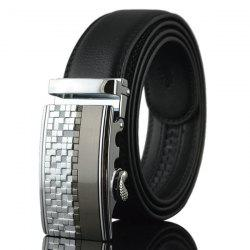 Alloy Checked Emboss Buckle Faux Leather Belt - SILVER