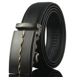 Rhombus Pinstripe Automatic Buckle Wide Belt - GOLDEN