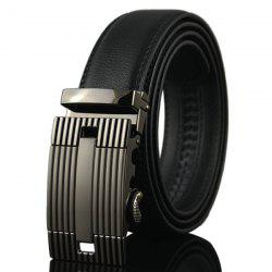 Stripe Engraved Automatic Buckle Waist Belt