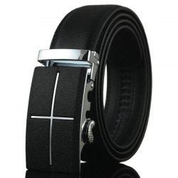 Metal Cross Automatic Buckle Faux Leather Belt