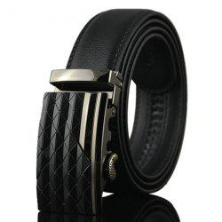 Striped Rhombus Auto Buckle Ceinture large - Noir