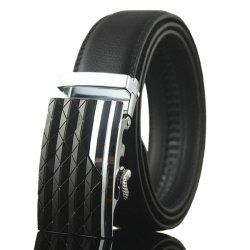 Striped Rhombus Automatic Buckle Wide Belt