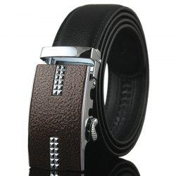 Rectangle Tiny Plaid Embellished Automatic Buckle Belt