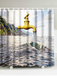 Water Faucet Flowing Printed Shower Curtain
