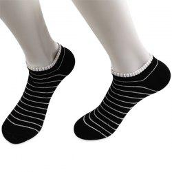 Pinstripe Patterned Elastic Knitting Ankle Socks - BLACK
