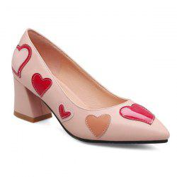 Heart Pattern Block Heel Pumps