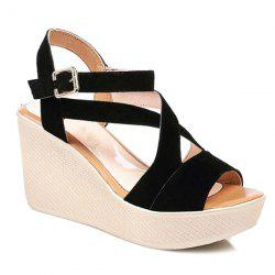 Cross Strap Suede Sandals
