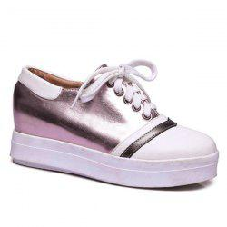 Color Block PU Leather Athletic Shoes - PURPLE
