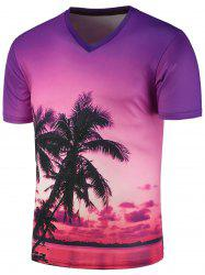 3D Sunset Glow Tree Print V Neck T-Shirt