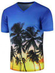 V Neck 3D Tree Print T-Shirt