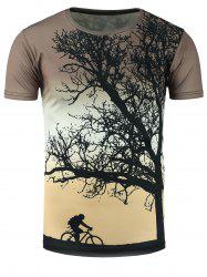 3D Tree and Cyclist Print Ombre T-Shirt