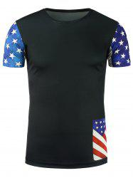 Stars and Stripes Print Short Sleeve T-Shirt