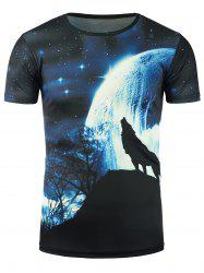 3D Wolf and Galaxy Print T-Shirt