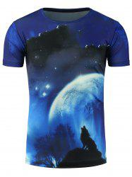 3D Moon and Wolf Print Galaxy T-Shirt