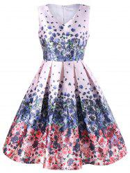 V Neck Tiny Floral Tea Length Vintage Dress