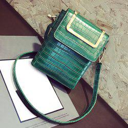 Metal Handle Crocodile Pattern Crossbody Bag - GREEN
