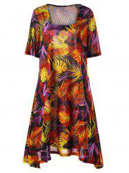Plus Size Tropical Print Mini Swing Dress