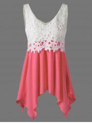 Lace Insert Handkerchief Tank Top